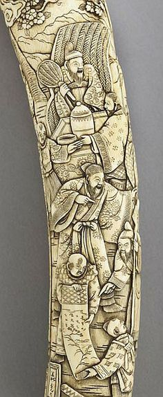"""Japanese Ivory Tanto Dagger, Meiji Period (1868-1912), the ivory mounting (koshirae) carved in relief with scholars and children, signed, l. 14""""."""