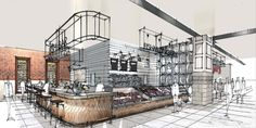 Fenwick Food Hall, Newcastle Sketch by Stephen Richardson 'A recipe for success: Fenwick Newcastle's new food hall | Fenwick'