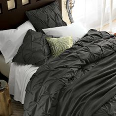 Organic Cotton Pintuck Duvet Cover + Shams - Slate | west elm with black silky sheets this would be awesome!