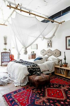 Boho eclectic bedroom with canopy