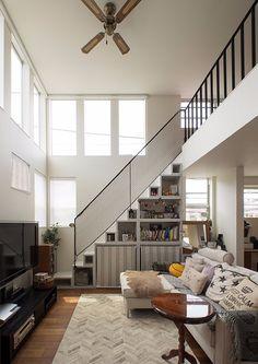 Minimalist House Design, Minimalist Home, Interior Modern, Interior Architecture, Interior Design, Storage Under Staircase, Interior Stair Railing, Colourful Living Room, Loft House