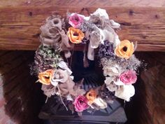 Crepe Paper Flowers, Autumn, Fall, Wooden Signs, Floral Wreath, Wreaths, Seasons, Halloween, Natural