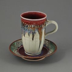 Mary Cuzick - love the height of this mug. (I love the height, shape, color; everything about this mug and saucer! I rarely crave material objects, but I want this! What a beautiful design. Glazes For Pottery, Pottery Mugs, Ceramic Pottery, Pottery Art, Earthenware, Stoneware, Clay Cup, Tea Bowls, Ceramic Clay