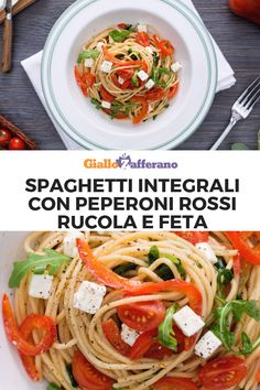 SPAGHETTI INTEGRALI CON PEPERONI ROSSI, RUCOLA E FETA: un primo piatto leggero, colorato e gustoso. Perfetto per il pranzo dell'ultimo minuto! #spaghetti #integrali #peperoni #rucola #feta #light #primo #piatto #pasta #wholemeal #pepper #rocket #cheese #italian #food #ricetta #facile #veloce #easy #recipe #giallozafferano [Easy italian wholemeal spaghetti with bell pepper, rocket salad and feta cheese recipe] Japchae, Spaghetti, Ethnic Recipes, Food, Vegan, Recipes, Essen, Meals, Yemek