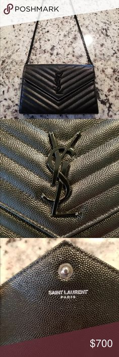 YSL Black Clutch Wallet Bag All of my items are 100% authentic! 💋If you have any questions regarding anything please text me for a fast response.💋Prices are negotiable.        ➡️(646-948-5580⬅️ 🔴DONT FLOOD MY COMMENTS WITH QUESTIONS🔴 Yves Saint Laurent Bags Clutches & Wristlets