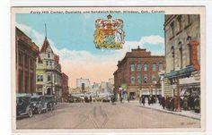 Ferry Hill Corner Ouellette Sandwich Street Cars Windsor Ontario 1920s Postcard | eBay