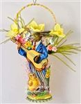 Guitar Playing Rabbit and Chick on Yellow Antique Miniature Wicker Basket with Daffodils. Handmade OOAK by Dresden Star http://www.hometraditions.com/category_s/1909.htm
