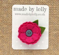 Felt Flower Brooch Pin 'MINNIE' in Cerise by madebylolly on Etsy