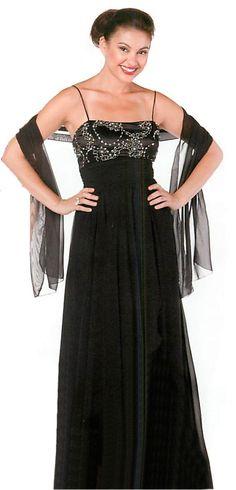 LIMITED STOCK - Long Chiffon Black Evening Dress Spaghetti Strap Empire Beaded (4 Colors Available)