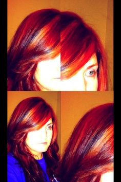 Vibrant red with strawberry highlights and dark mahogany lowlights.