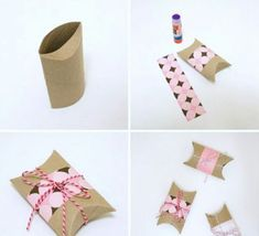 Maiko Nagao: DIY Valentine's Day Pillow Box by Practically Functional Paper Towel Tubes, Toilet Paper Roll, Cute Crafts, Diy And Crafts, Crafts For Kids, Creative Gift Wrapping, Creative Gifts, Craft Packaging, Ideias Diy