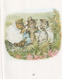 Set of Beatrix Potter Tale of Tom Kitten Cat Children Nursery Prints Peter Rabbit