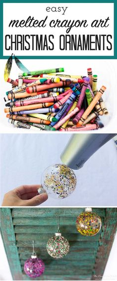 FUN ornament idea! So colorful! DIY christmas ornament melted crayon art from http://heatherednest.com                                                                                                                                                                                 More