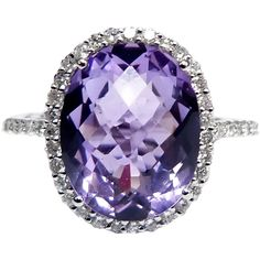 Purple Amethyst Diamond Cocktail Ring at 1stdibs ❤ liked on Polyvore
