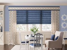 Drapery to bring it all together! Find #patterns and #colors that coordinate with your room. Or find the fabric you love, then redo the room! @BaliBlinds Ideas