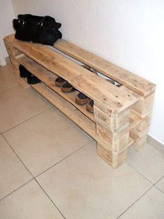 Shoe cabinets - Unique shoe rack made of pallets / from 30, - € - a unique product by Woodful on DaWanda  #cabinets #dawanda #pallets #product #unique #woodful