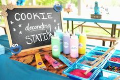 Cookie decorating station - Do I even dare? Oh the mess this might make Monster 1st Birthdays, Monster Birthday Parties, 1st Boy Birthday, 2nd Birthday Parties, First Birthdays, Birthday Ideas, Monster Decorations, Halloween Decorations, Cookie Monster Party