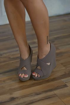 Madison Wedge (Taupe) - Piace Boutique-bridesmaids shoes perhaps