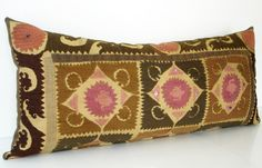 Sukan / Vintage Hand Embroidered Suzani Pillow Cover, Bolster Pillows - Body Pillows - Large - Large Bolster Pillows, Pinks, Soil Colors
