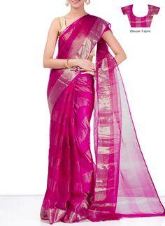 Brilliant Pink Pure Kota Silk Saree