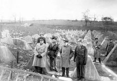 Winston Churchill with Field Marshal Bernard Montgomery, Chief of the Imperial General Staff Field Marshal Sir Alan Brooke and General William Simpson of the 9th American Army at the Siegfried Line, just outside Aachen, Germany, on 6 March 1945.