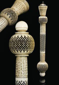 A MAMLUK IVORY BATON  EGYPT, 14TH CENTURY  The staff composed of eight ivory…