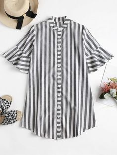 Shop for Striped Bell Cuff Midi Shirt Dress GRAY: Casual Dresses XL at ZAFUL. Only $19.49 and free shipping!
