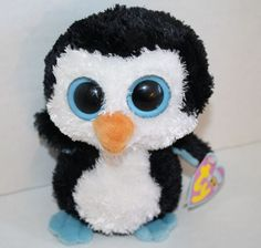"Ty Beanie Boos Waddles penguin blue eye feet plush 6"" stuffed animal 2010 w/ tag"