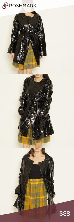 """faux patent leather coat Shiny black faux patent leather trench coat with matching tie belt by Mossimo. 100% Polyurethane, 100% Cotton lining. Made in China.  EXCELLENT CONDITION   MEASUREMENTS  size marked S  bust 36"""" waist 36"""" length 33"""" sleeve length 24.5 Mossimo Supply Co Jackets & Coats"""