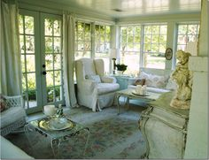Perfection .... this is me    Lovely sunroom from Cote de Texas
