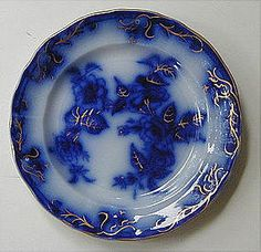 This flow blue plate is from Petrus Regout of Maastricht, Holland.  It dates from the mid-19th Century
