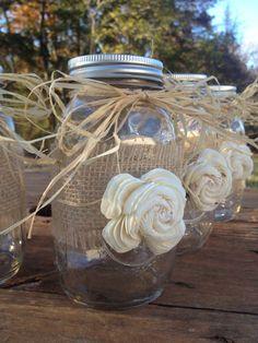 Conjunto de centros de mesa de Mason Jar frascos Shabby Chic