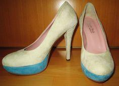 * * * Diffusione Moda Plateau-Pumps creme/türkis, Gr.37 * * * Plateau Pumps, Peep Toe, Heels, Ebay, Fashion, Clothing Accessories, Ladies Shoes, Heel, Moda