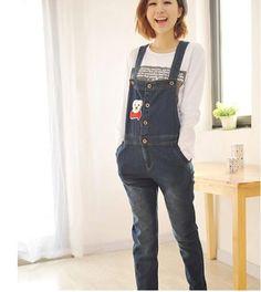 ce748007930 Blue Cartoon Denim Jumpsuit For Pregnant Maternity High Waist Denim  Suspender Jeans Overalls Pregnancy Women Causal Bib Rompers
