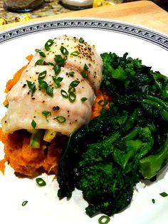 Vegetable Stuffed Flounder with Sweet Potato and Broccoli Raab.