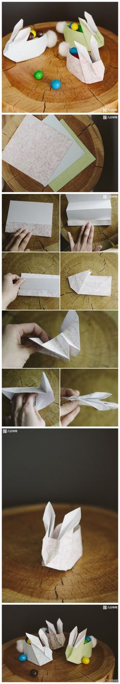 Panier d'origami de lapin de Pâques bricolage pour des bonbons – si mignon! – Origami Community : Explore the best and the most trending origami Ideas and easy origami Tutorial Diy Origami, Bunny Origami, Origami And Kirigami, Origami Tutorial, Origami Paper, Oragami, Origami Flower, Paper Folding, Spring Crafts