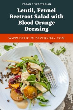 Even on the coldest and dreariest winters day this beautiful vegan Roast Beetroot Salad with Lentils Fennel and Blood Orange with a Blood Orange Dressing will brighten up your day. And your palate! Easy Vegan Dinner, Vegan Dinner Recipes, Vegan Dinners, Vegetarian Recipes, Healthy Recipes, Vegetarian Christmas Recipes, Vegan Roast, Winter Soups, Blood Orange