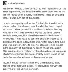 The story of the socially anxious marathon runner. Haha introvert your way into doing well Stupid Funny, Funny Cute, The Funny, Hilarious, Funny Stuff, Funny Things, Random Stuff, Random Things, Stuff Stuff