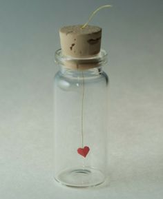 Herzchen in der Flasche bottle crafts diy Items similar to tiny red origami heart on Etsy