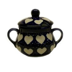 Sugar bowl lovely large White Heart Design - SEA T1. .www.starrypottery.co.ukAll our Polish pottery is oven to tableware.Ovenproof, microwave & dishwasher safe as well as suitable for freezer