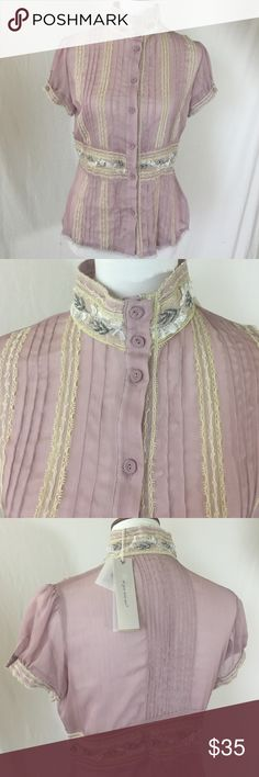 NWT Miss Me Top NWT Sheer Miss Me top- fabric covered buttons- I would describe the color as a mix of dusty rose and lilac. Beaded detail at neck. Make offer Miss Me Tops Button Down Shirts