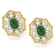 PAIR OF 18 KARAT TWO-COLOR GOLD, EMERALD AND DIAMOND EARCLIPS, BUCCELLATI. Centered by two oval-shaped emeralds weighing approximately 3.00 carats, within openwork surrounds set with round diamonds weighing approximately 1.25 carats, signed Buccellati, Italy.