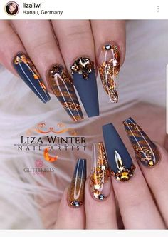 22 best blue & gold nails images in 2019 Glam Nails, Dope Nails, Bling Nails, Matte Nails, Gold Stiletto Nails, Gradient Nails, Fancy Nails, Holographic Nails Acrylic, Red Nails