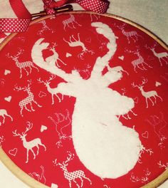 Embroidery Hoop Appliqué ~ White Felt Stag Reindeer with Antler ~ appliquéd onto red and white reindeer print fabric ~ Christmas by Nerdacious on Etsy