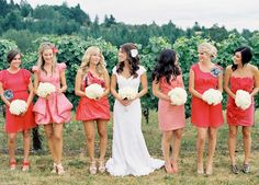 Found on WeddingMeYou.com - Mismatched Bridesmaid Dresses in Coral