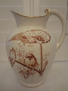 Antique Huge Brown Transferware Pitcher 1850s Westhead Moore Co Fabulous | eBay