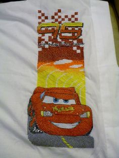 Lightning McQueen Cars pillow case stamped cross stitch