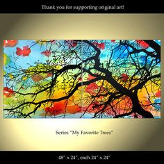 Tree Painting Flowers Original Modern Landscape by ColorinaArt, $199.00