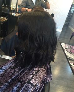 In love with my hair  Lob haircut black hair short hair curls long bob