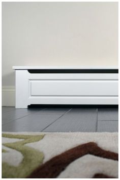 Wood Baseboard Cover built to last, don't bother with custom wood shops and long lead times - order today! Baseboard Radiator, Baseboard Heater Covers, Electric Baseboard Heaters, Wood Baseboard, Baseboard Styles, Modern Baseboards, Baseboard Heating, Dark Baseboards, Craftsman Trim